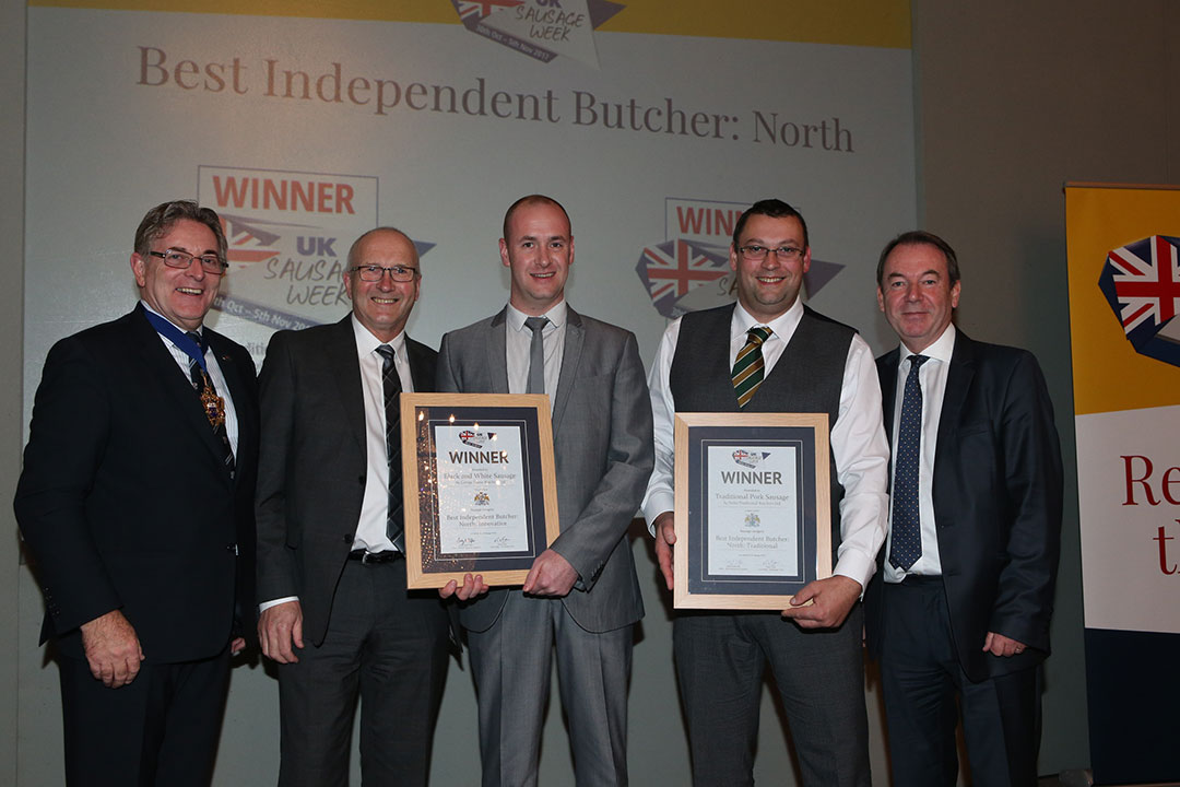 Best Independent Butcher: North<br>L-R: Award partner Master of The Worshipful Company of Butchers Geoff Gillo, Innovative winners George Payne and Alex Daley, Traditional winner Mark Duckworth and presenter Eric Knowles.
