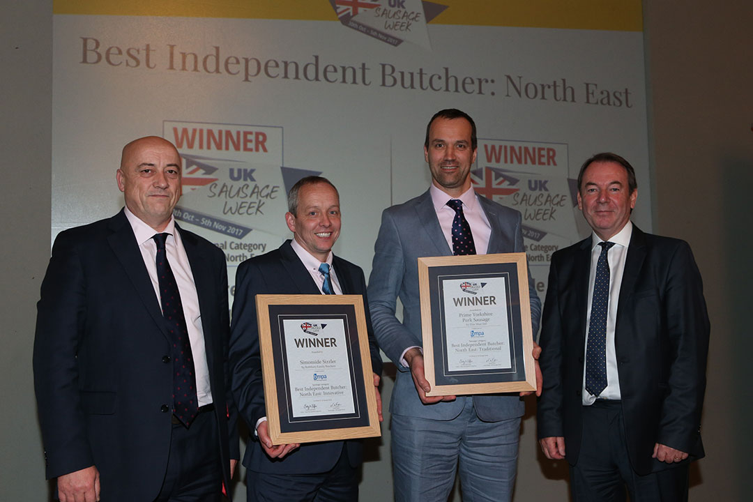 Best Independent Butcher: North East<br>L-R: Award partner David Lindars of BMPA, Innovative winner Morris Adamson, Traditional winner Gordon Atkinson and presenter Eric Knowles.