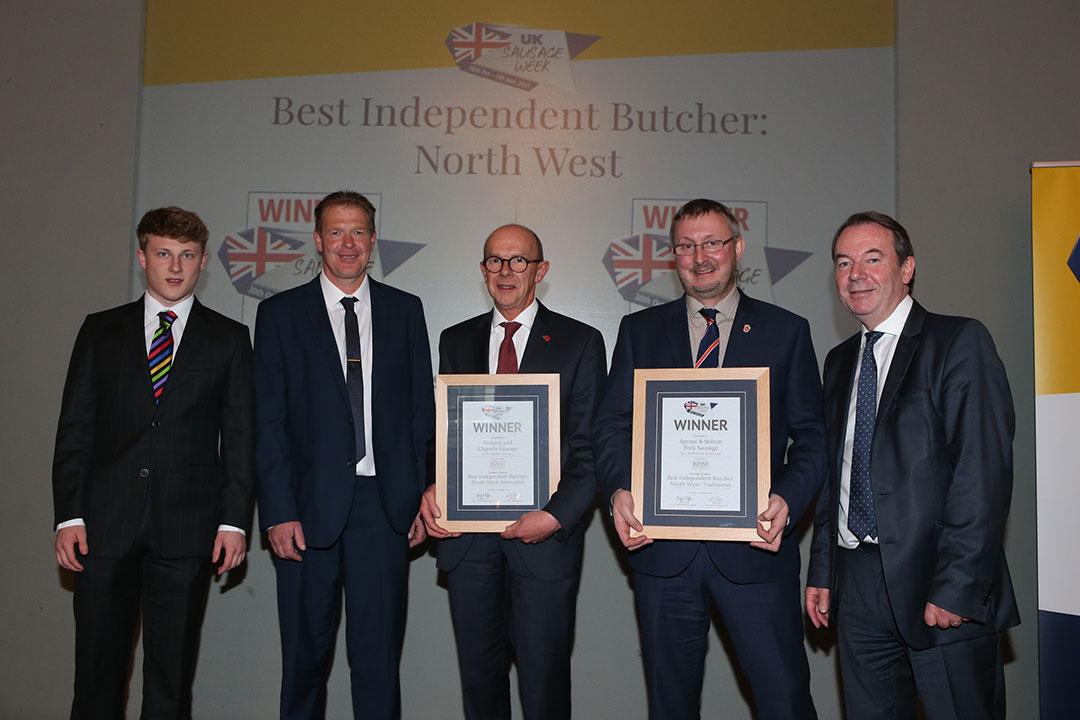 Best Independent Butcher: North West <br>L-R: Award partner Harald Bosse of Bosse Interspice, Innovative winners Ton Cox and Charles Clewlow, Traditional winner John Mettrick and presenter Eric Knowles.