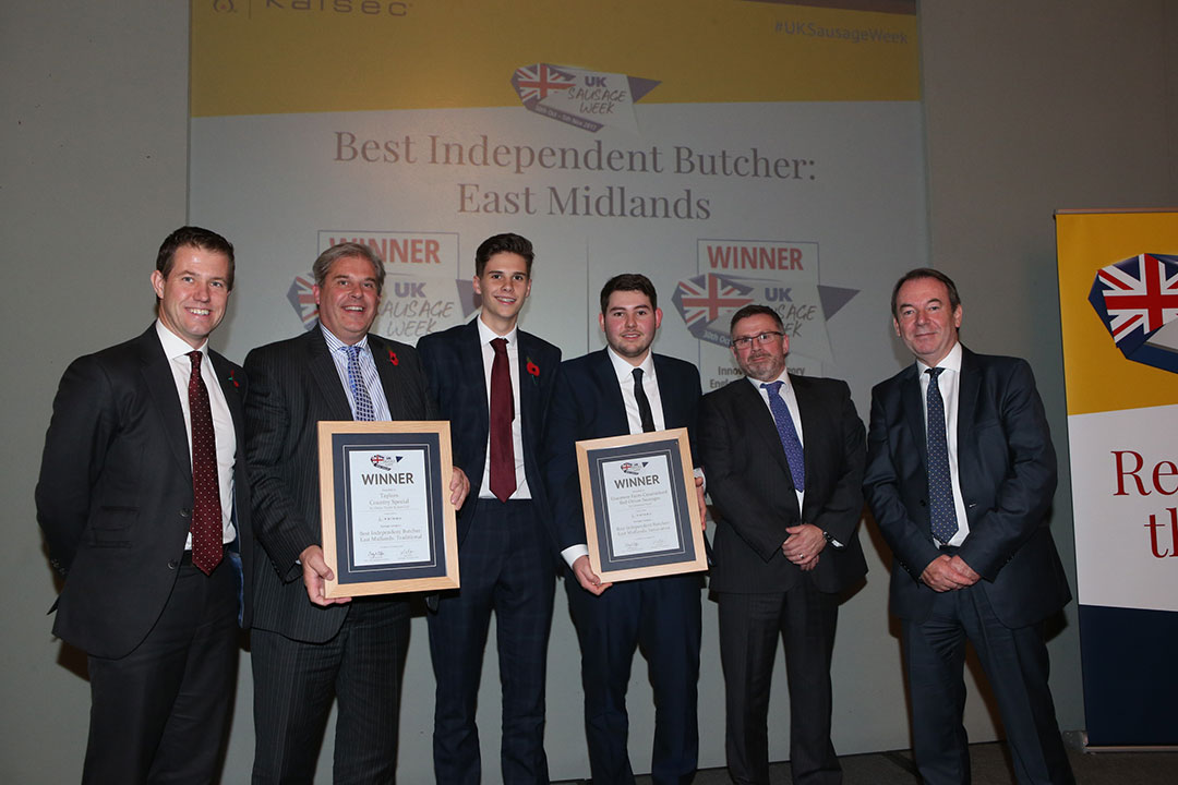 Best Independent Butcher: East Midlands<br>L-R: Award partner James Smith of Kalsec, Traditional winners Richard Taylor and Robert Taylor, Innovative winners Liam Kidd and Glen Howsam, and presenter Eric Knowles.