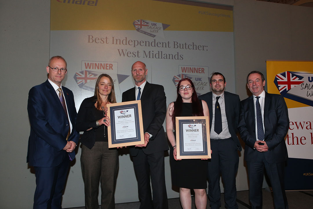Best Independent Butcher: West Midlands<br>L-R: Award partner Stuart Turner of Marel, Traditional winners Fiona Cunningham and Rob Cunningham, Innovative winners Jess Pugh and Andrew Brassington, and presenter Eric Knowles.
