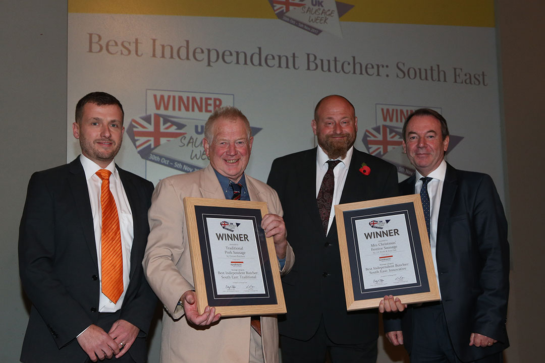 Best Independent Butcher: South East<br>L-R: Award partner Anthony Daniels of Handtmann, Traditional winner Rob Owton, Innovative winner Andrew Rook and presenter Eric Knowles.