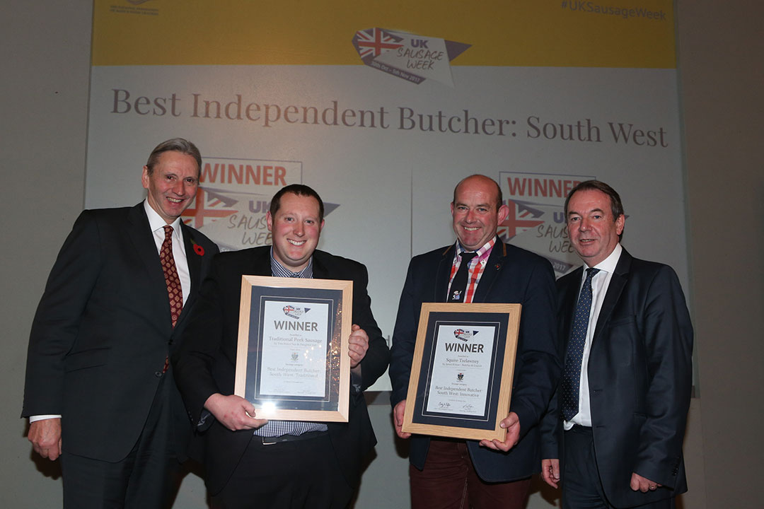 Best Independent Butcher: South West<br>L-R: Award partner Roger Kelsey of the National Federation of Meat & Food Traders, Chris Potter, James Kittow and presenter Eric Knowles.
