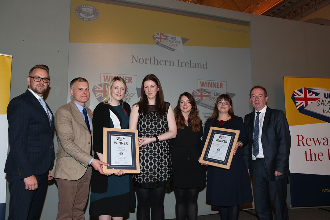 Northern Ireland<br>L-R: Award partner Richard Watson of Reiser, Traditional winners William Butler, Sarah Price and Judith Millar, Innovative winners Sarah Savage and Elizabeth Vint, and presenter Eric Knowles.