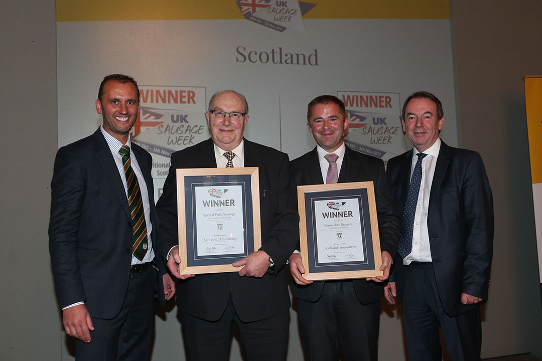 Scotland<br>L-R: Award partner Mark Turnbull of the Q Guild, Traditional winner Sandy Crombie, Innovative winner Steven Robertson and presenter Eric Knowles.