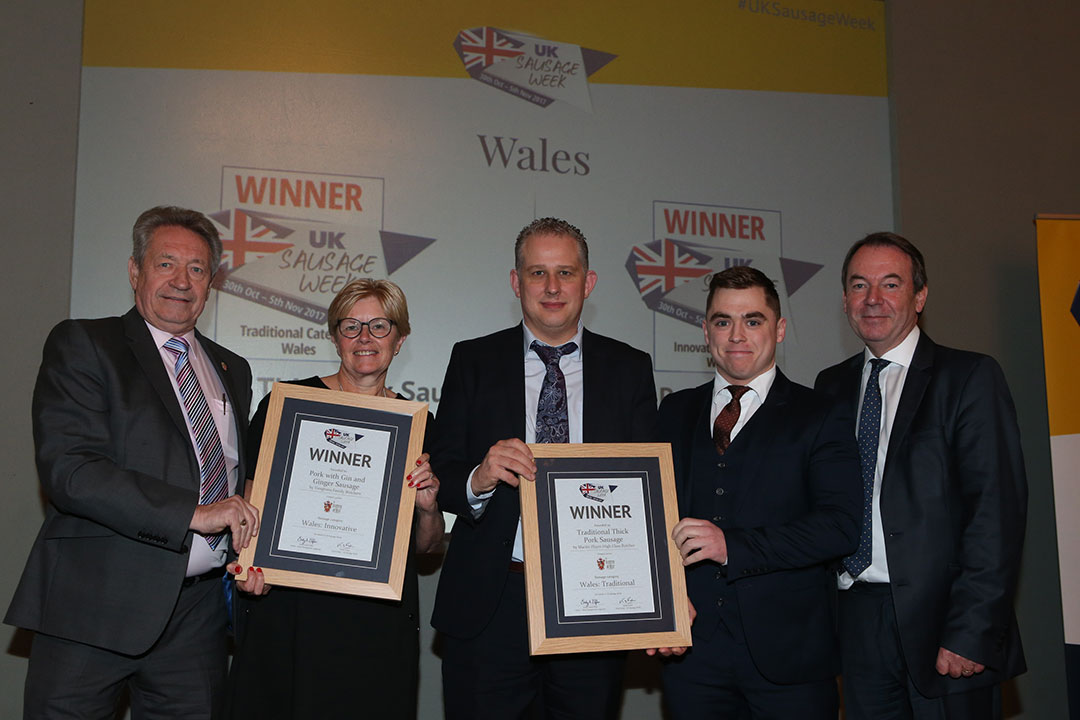 Wales<br>L-R: Award partner Keith Fisher of the Institute of Meat, Innovative winner Helen Vaughan, Traditional winners Martin Player and Ieuan Pincott and presenter Eric Knowles.