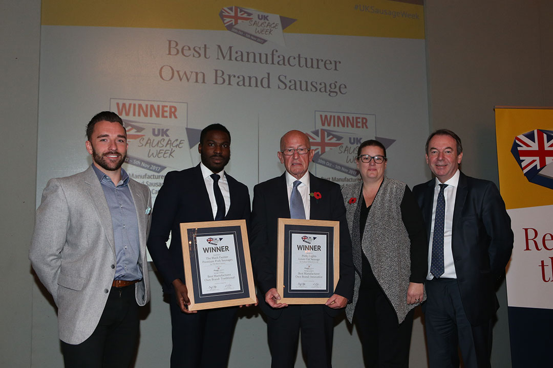 Best Manufacturer Own Brand Sausage<br>L-R: Award partner Dave Oakes of Foodmaker, Traditional winner Segun Akinwoleola, Innovative winners Graham White and Carla Quirk and presenter Eric Knowles.