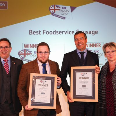 Best Foodservice Sausage L-R: Award partner Steve Derrick of Kerry, Traditional winner Aberdeenshire Larder (collected by Graeme Sharp of The Scotch Butchers Club), Innovative winner James Roberts of Danish Crown UK, and Sophie Grigson.