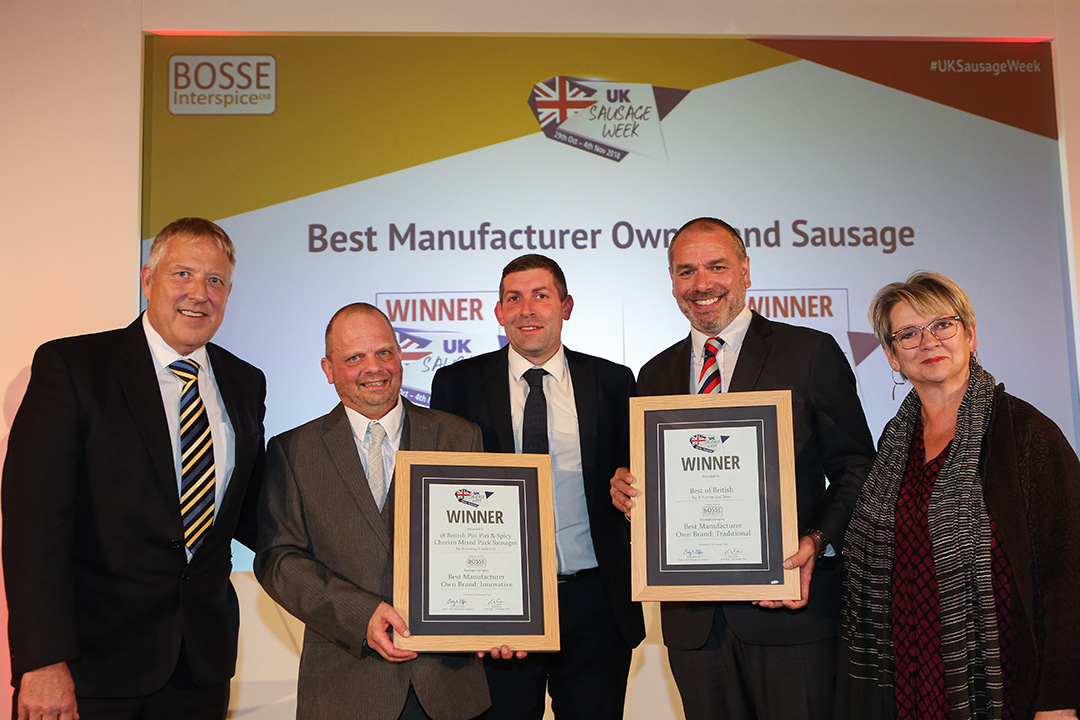Best Manufacturer Own Brand Sausage L-R: Award partner Jensen Bosse of Bosse Interspice, Innovative winners Simon Ewer and Brad Hill of Riverway Foods Ltd, Traditional winner Paul Turner of A Turner and Sons, and Sophie Grigson.