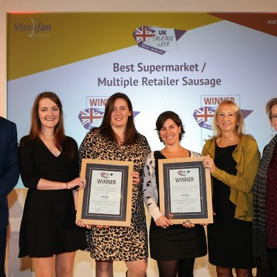 Best Supermarket/Multiple Retailer Sausage L-R: Award partner Paul Wells of Viscofan UK Ltd, Traditional winners Grace Fryer of Co-op and Sarah Varnam of Tulip Ltd, Innovative winners Fran Barros and Frances Westerman of Walkers Deli & Sausage Co and Waitrose and Sophie Grigson.