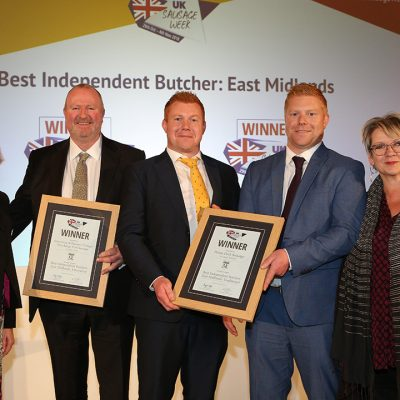 Best Independent Butcher: East Midlands L-R: Award partner Claire Holland of The Q Guild of Butchers, Innovative winner Andrew Edis of Edis of Ely, Traditional winners Ed Armstrong and Tom Armstrong of Ginger Butchers, and Sophie Grigson.