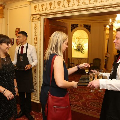 The lunch started with a champagne reception, sponsored by Peppadew.