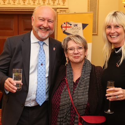 Meat Management publisher Graham Yandell, special celebrity host Sophie Grigson and Meat Management's Sharon Yandell