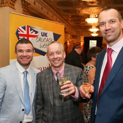 L-R: Michael Magneron and Morris Adamson of Rothbury Family Butchers with Gordon Atkinson of Elite Meat Ltd.