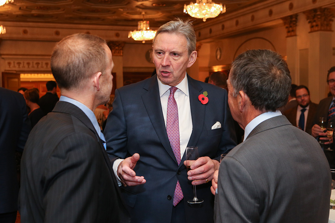 Roger Kelsey, CEO of National Craft Butchers chatting with fellow UKSW guests.