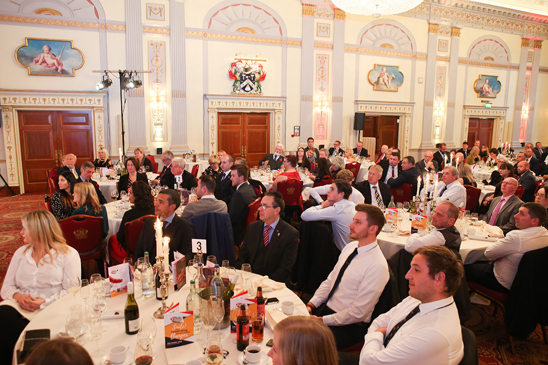 The results are announced in the magnificent surroundings of Plaisterers' Hall, London.