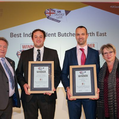 Best Independent Butcher: North East L-R: Award partner Keith Fisher of The Institute of Meat, Innovative winner Thomas Bollon of F. Leakes Butcher, Traditional winner Gordon Atkinson of Elite Meat Ltd, and Sophie Grigson.