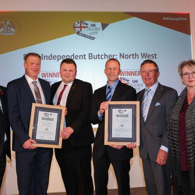 Best Independent Butcher: North West L-R: Award partner Graham Baker, Master of the Worshipful Company of Butchers, Innovative winners Ton Cox and Grant Richards of H Clewlow Butchers, Traditional winners Howard Callaghan and Gordon Callaghan of G Callaghan & Son, and Sophie Grigson.