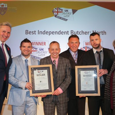 Best Independent Butcher: North L-R: Award partner Roger Kelsey of National Craft Butchers, and Traditional winners Michael Magneron and Morris Adamson of Rothbury Family Butchers, Innovative winners Paul Clark and Stephen Auton of George H Pickings, and Sophie Grigson.