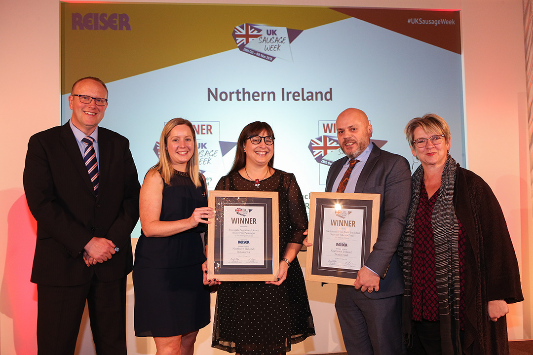 Northern Ireland L-R: Award partner Ed Hewitt of Reiser UK Ltd, Innovative winners Kerri Smith of Finnebrogue Artisan and Elizabeth Vint of Booker Wholesale, Traditional winner David Rosbotham of Hannan Meats, and Sophie Grigson.