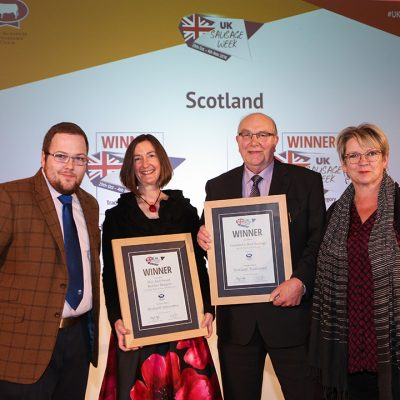 Scotland L-R: Award partner Graeme Sharp of The Scotch Butchers Club, Innovative winner Julia Thomas  of Hugh Black & Sons Butchers, Traditional winner Sandy Crombie of Crombies of Edinburgh, and Sophie Grigson.