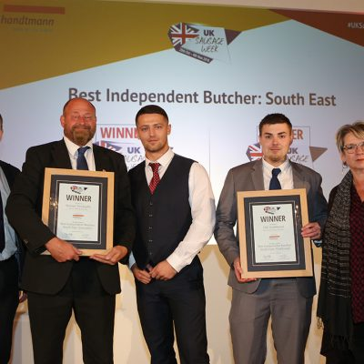 Best Independent Butcher: South East L-R: Award partner Anthony Daniels of Handtmann Ltd, Innovative winners Andrew Rook and Jonathan Rook of J C Rook & Sons, Traditional winner Oliver Weaver of Patrick Strainge Butchers, and Sophie Grigson.