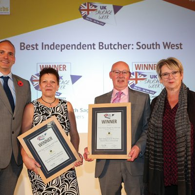 Best Independent Butcher: South West L-R: Award partner John Lelliot of Leonards Ingredients, Traditional winner Janet Pawley of Lambournes Butchers, Innovative winner Kevin Tratt of K & M Butchers, and Sophie Grigson.