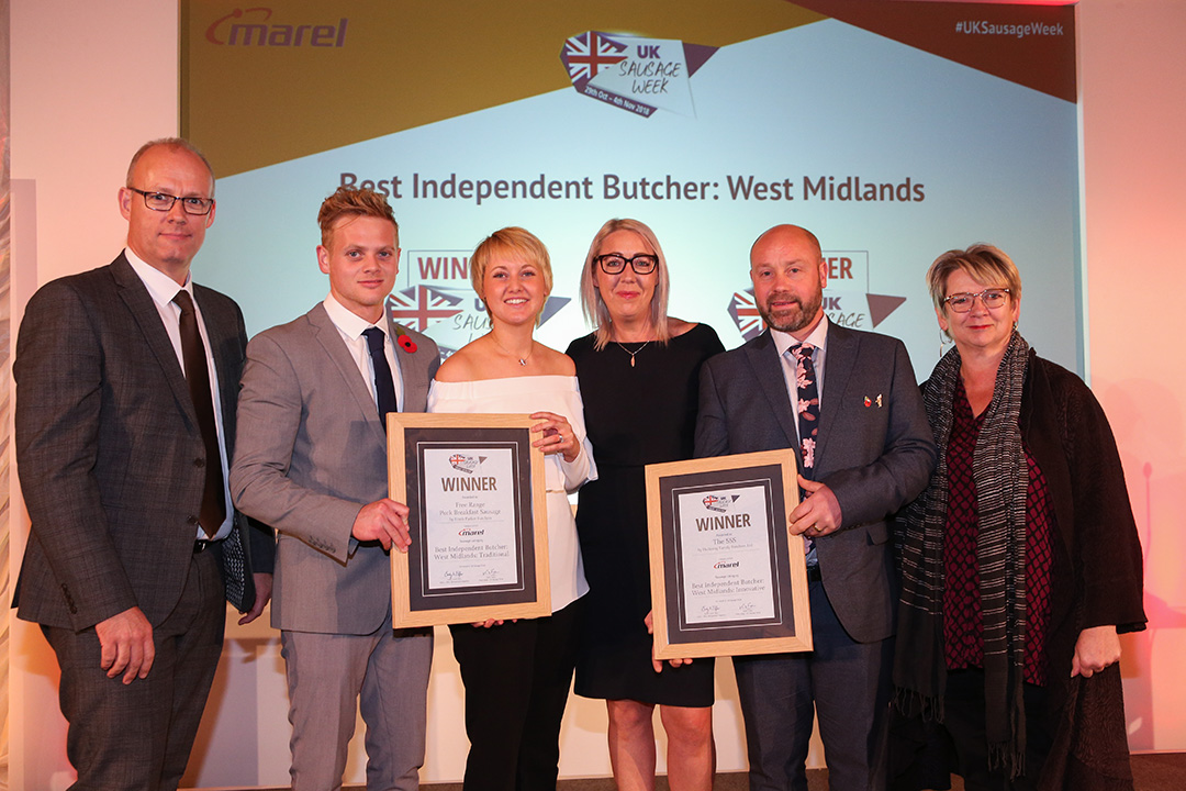 Best Independent Butcher: West Midlands L-R: Award partner Stuart Turner of Marel, Traditional winners George Parker and Hannah Parker of Frank Parker Butchers, Innovative winners Nicola Holloway and Richard Holloway of Holloway Family Butchers Ltd, and Sophie Grigson.